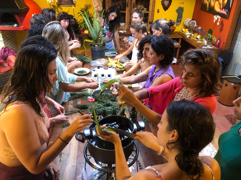 Herb remedies preparation class at Art of Birth workshop by Naoli Vinaver.