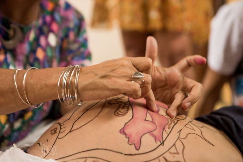 Natural Ultrasound is a technique created by Mexican Midwife Naoli Vinaver in 1992. Belly painting by Naoli Vinaver. Naoli painting belly and explaining procedure to parents. Photo by Lela Beltrão.