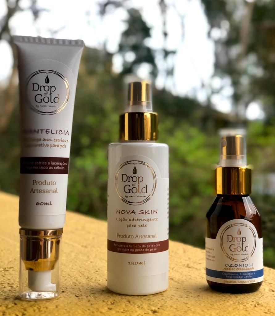 Mantelicia, Nova Skin & Ozonioli. Drop of Gold natural product line developed by Naoli Vinaver. Products made for health care and birth related necessities.